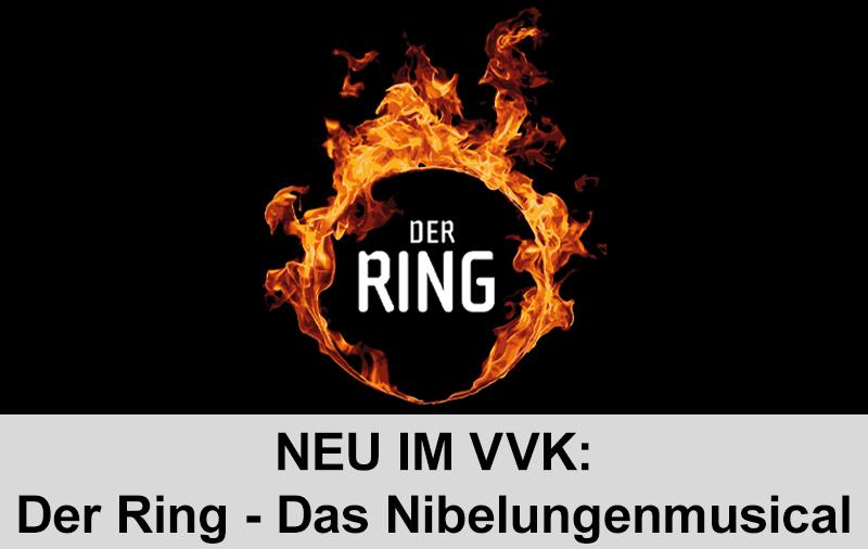 Ein brennender Ring auf schwarzem Grund, in dem Der Ring geschrieben steht