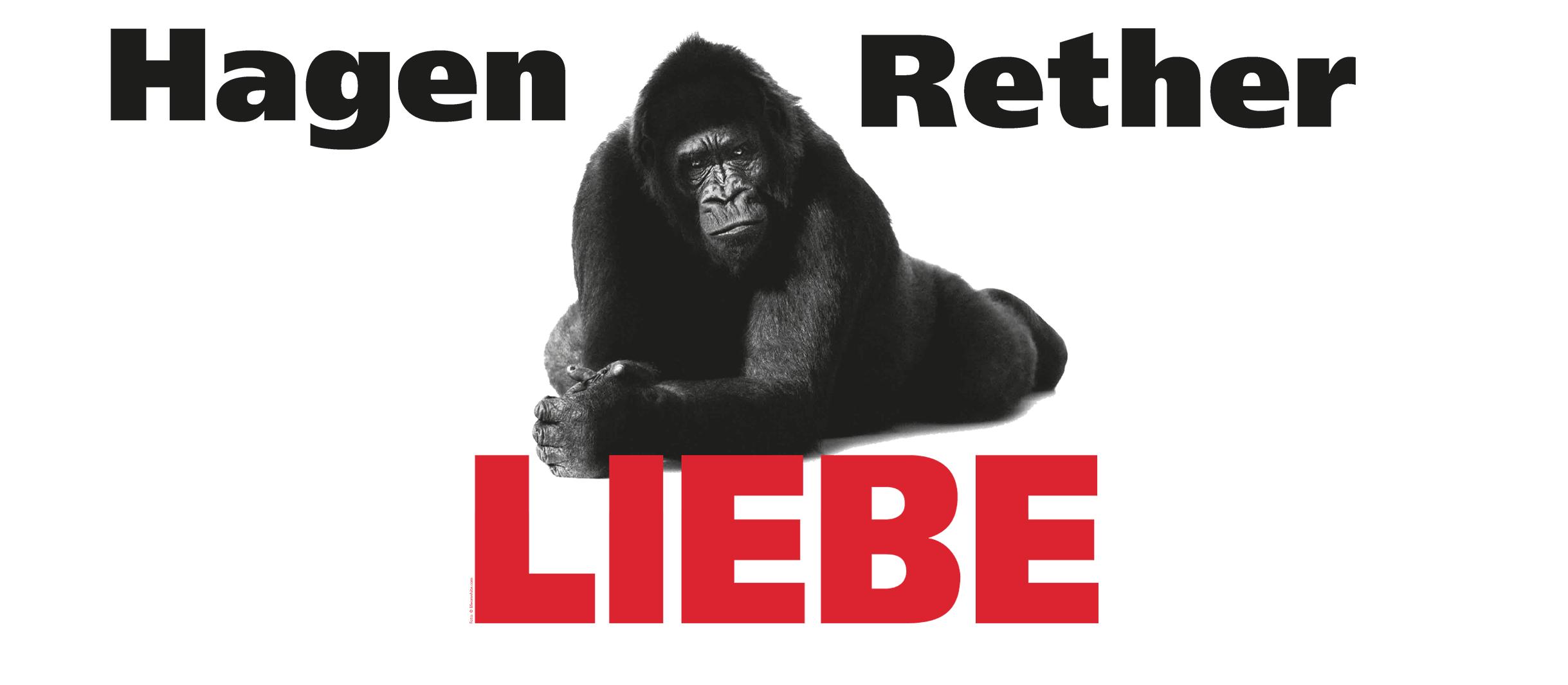 Ein schwarzer Gorilla liegt hinter dem in roten Lettern geschriebenen Wort LIEBE